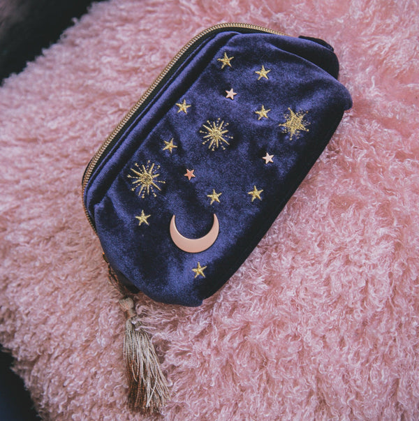 Alba Moon & Star Velvet Makeup Bag