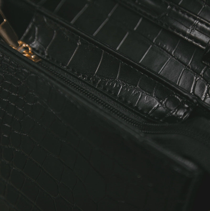 Ava Croc Messenger Bag - Black