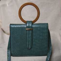 Ava Croc Messenger Bag - Green