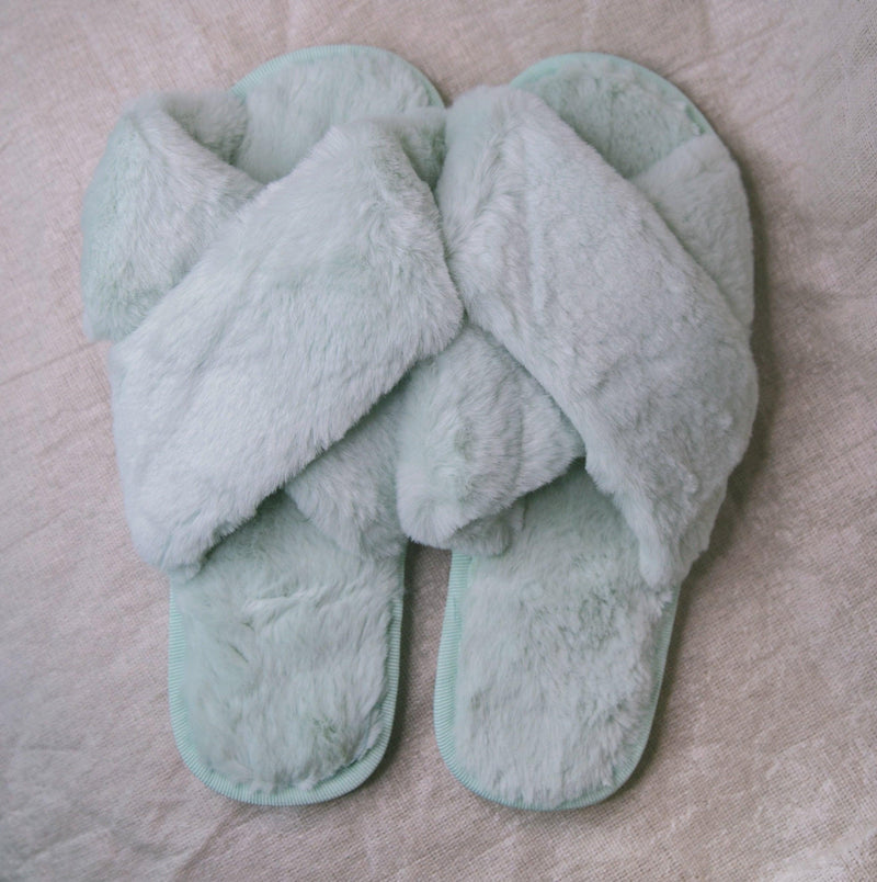 Blossom Faux Fur Slippers - Mint Green