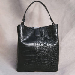 Pandora Croc Bucket Bag - Black - Luna Charles