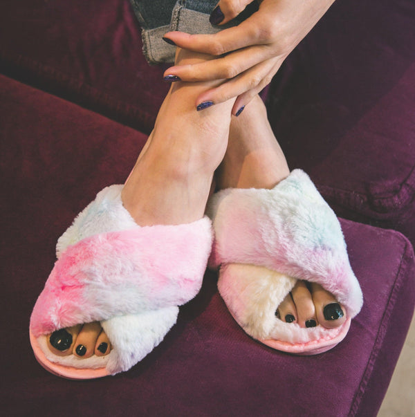 Blossom Faux Fur Slippers - Pastel Rainbow