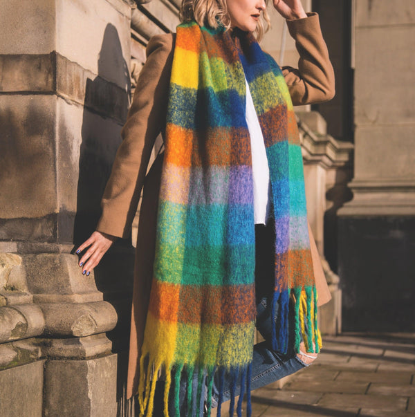 *PRE-ORDER* Avril Check Scarf - Rainbow