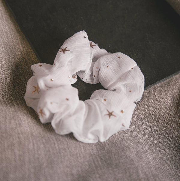 Demi Star Hair Scrunchie - White