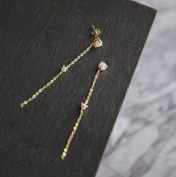 Eira Opal Drop Chain Earrings - Gold
