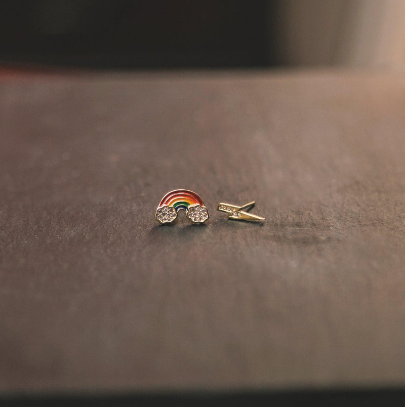 NHS Hope Rainbow & Lightning Stud Earrings - Luna Charles