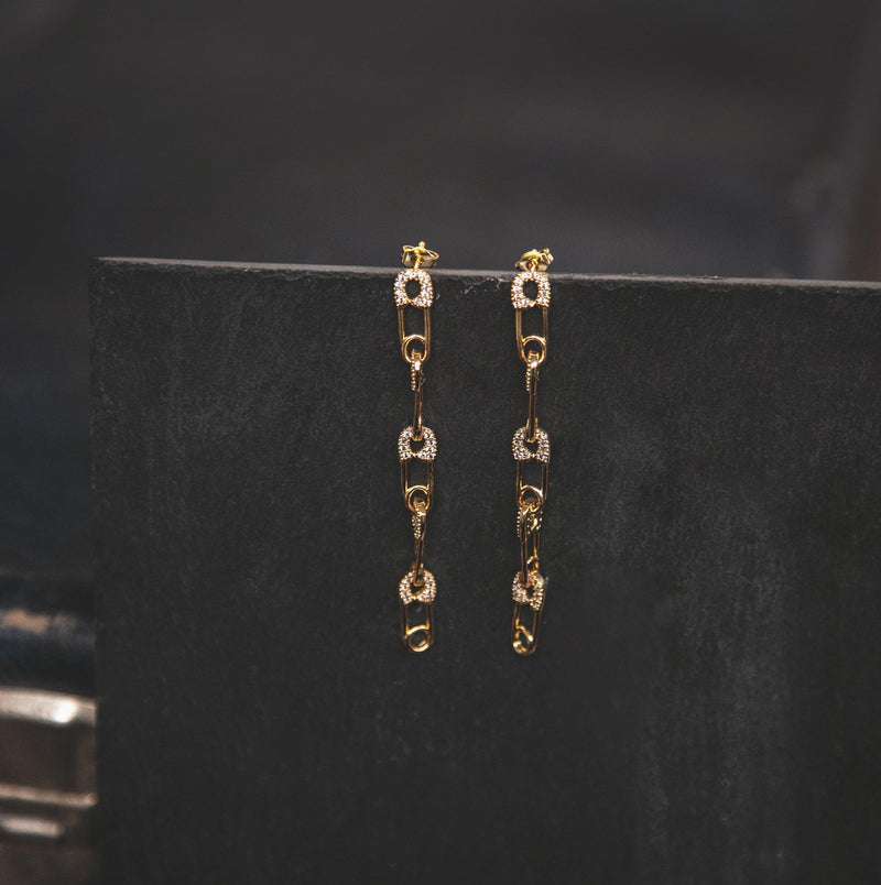Jet Safety Pin Drop Earrings - Gold