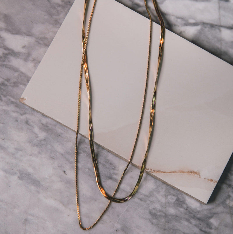 Lissa Double Chain Necklace - Gold