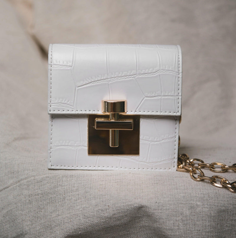 Mia Mini Croc Bag - White