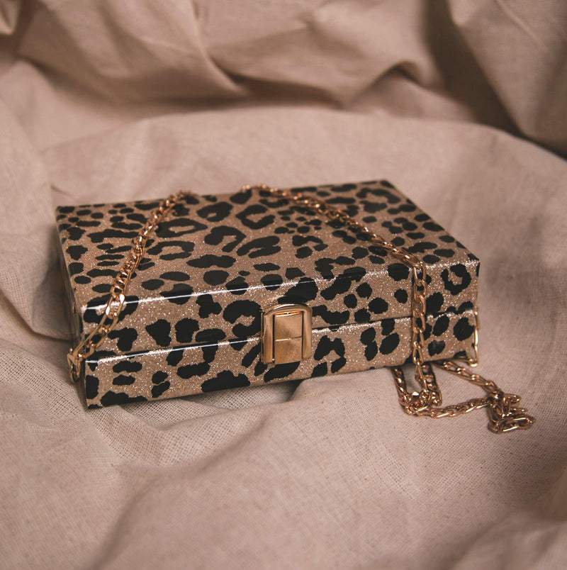 Ngozi Leopard Sparkle Box Bag - Gold