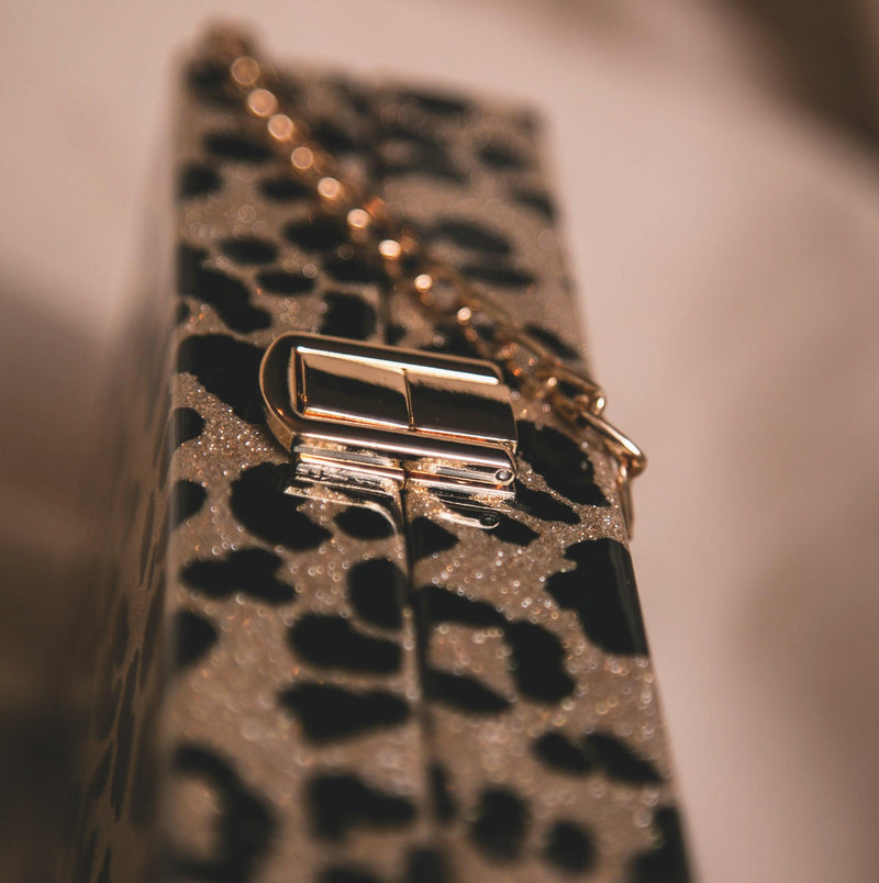 Ngozi Leopard Sparkle Box Bag