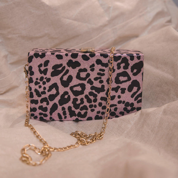 Ngozi Leopard Sparkle Box Bag - Pink