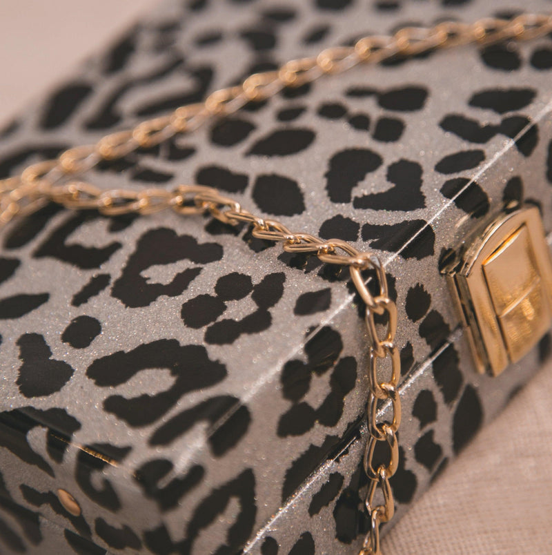 Ngozi Leopard Sparkle Box Bag - Silver