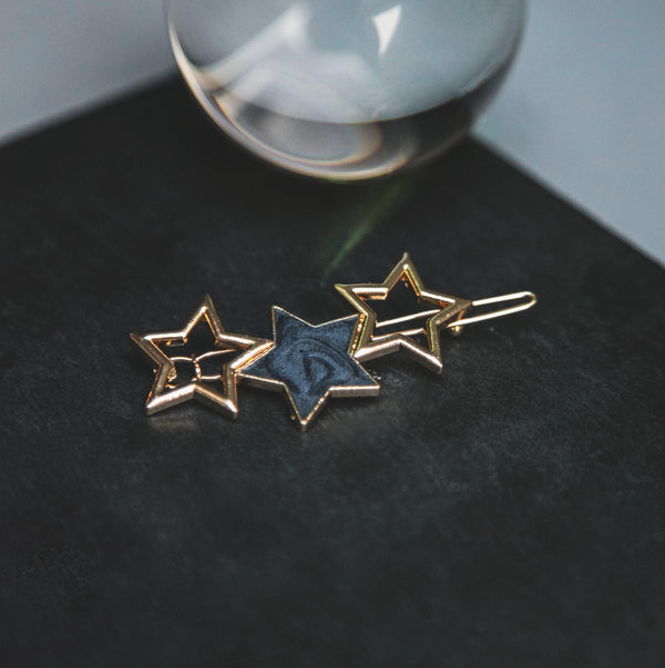 Norah Triple Star Hair Clip - Navy