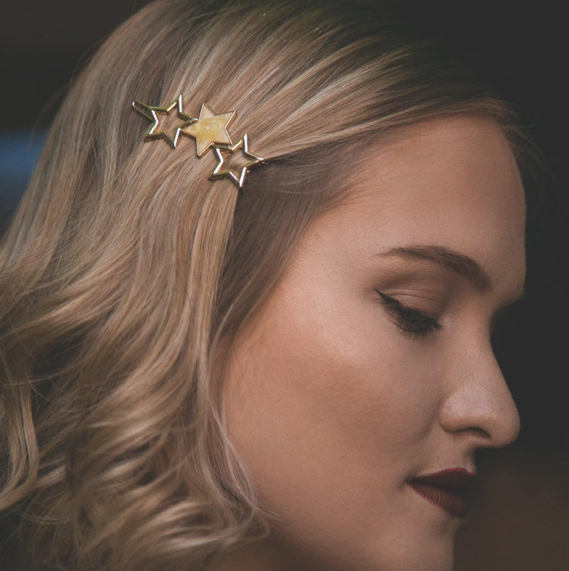 Norah Triple Star Hair Clip - Yellow