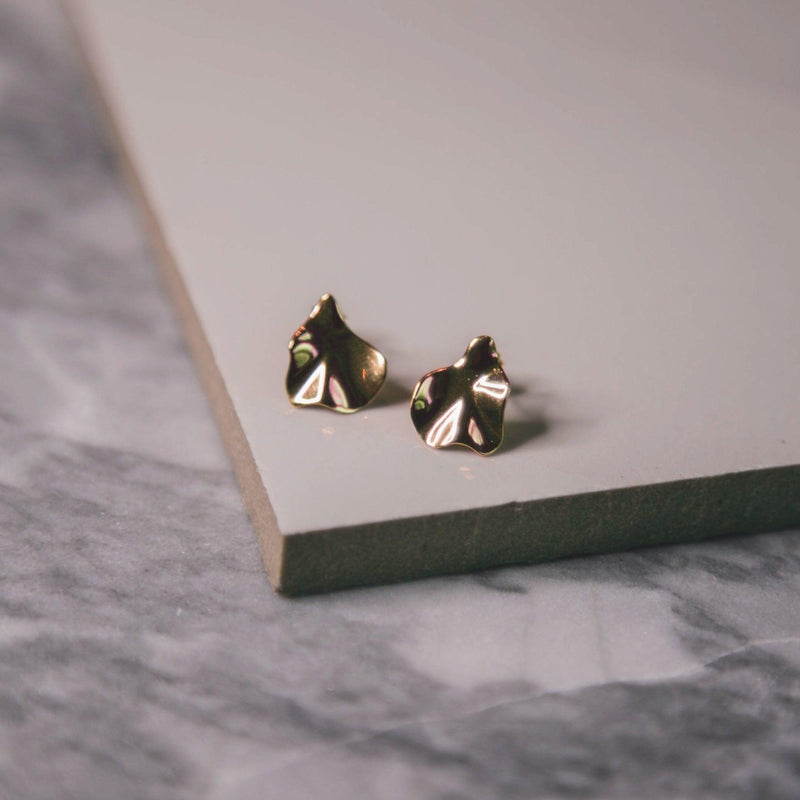 Pebble Geometric Stud Earrings - Gold