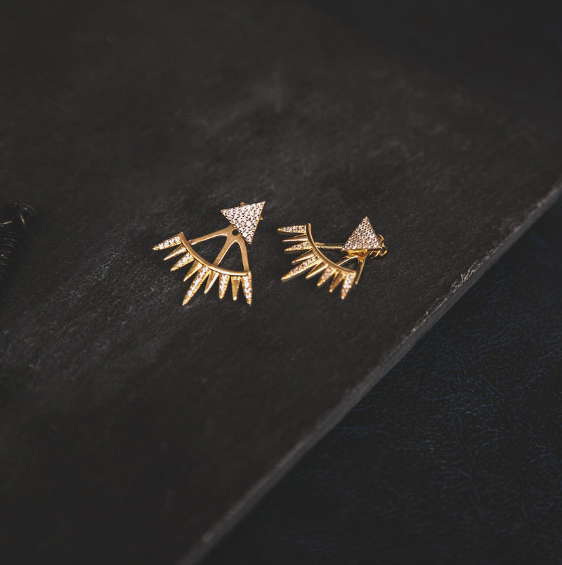 Ramona Spike Stud Earrings - Gold
