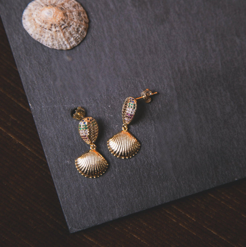 Reva Rainbow Shell Earrings