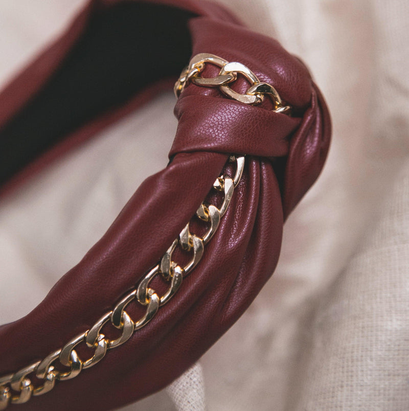 Rihanna Leather Chain Headband - Red