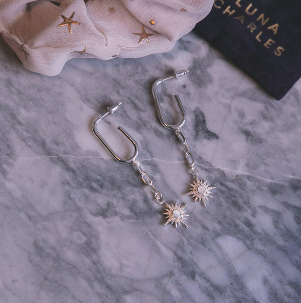 Robyn Star Drop Earrings - Silver