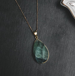 Rose Teardrop Fluorite Stone Necklace - Luna Charles