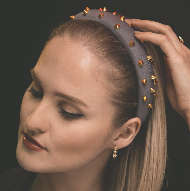 Roxy Gold Spike Headband - Grey