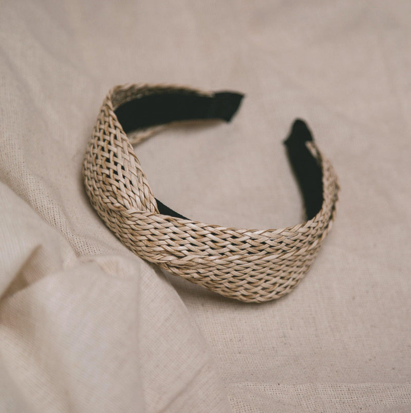 Sena Twisted Rattan Headband - Light Natural