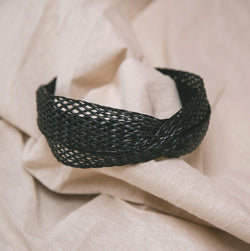Sena Twisted Rattan Headband - Black