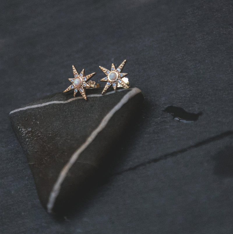 Serin Star Opal Stud Earrings - Luna Charles