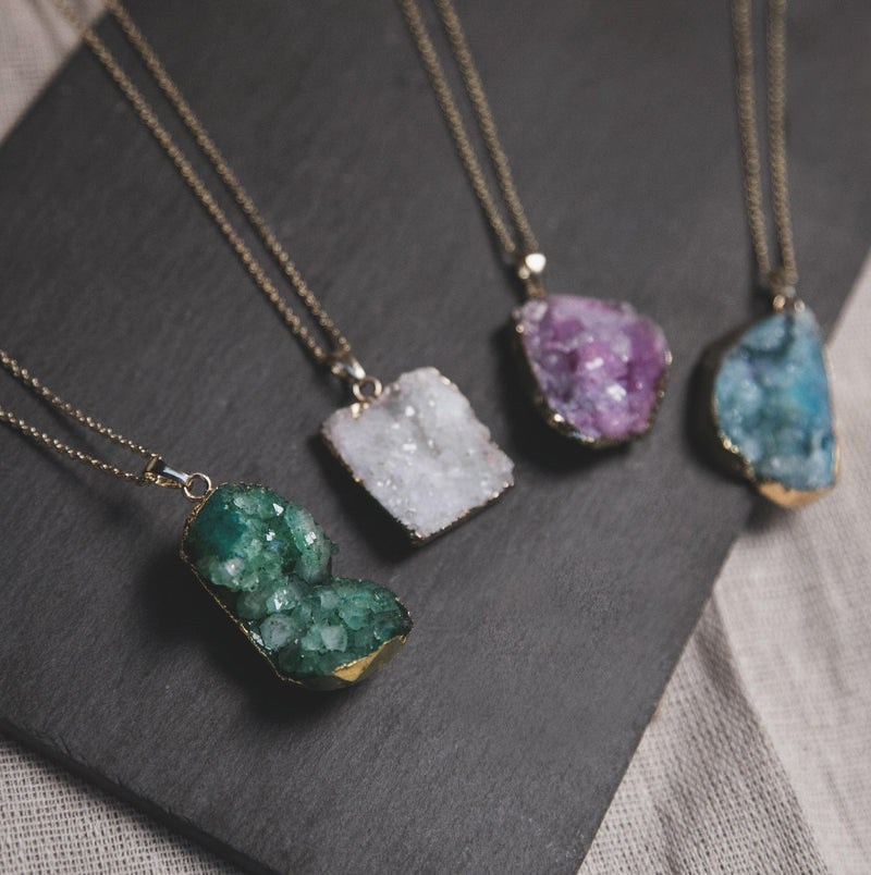 Melia Crystal Druzy Quartz Necklace