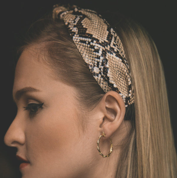 Taylor Snakeprint Knot Headband - Natural