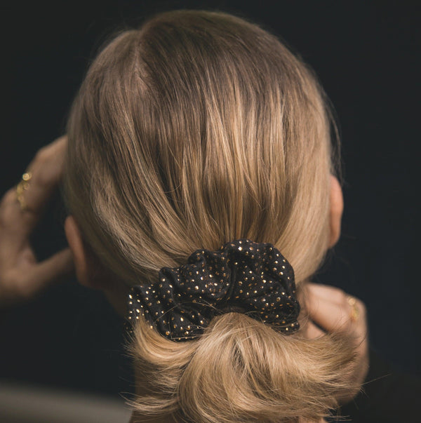 Thalia Gold Dot Scrunchie - Black