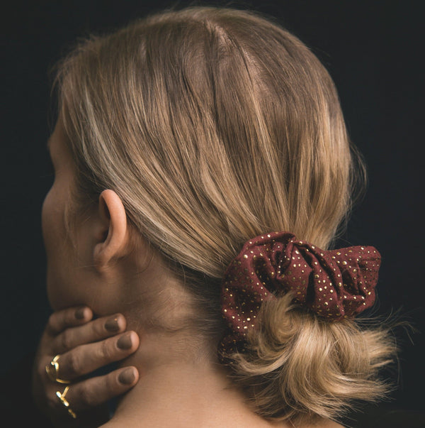 Thalia Gold Dot Scrunchie - Red