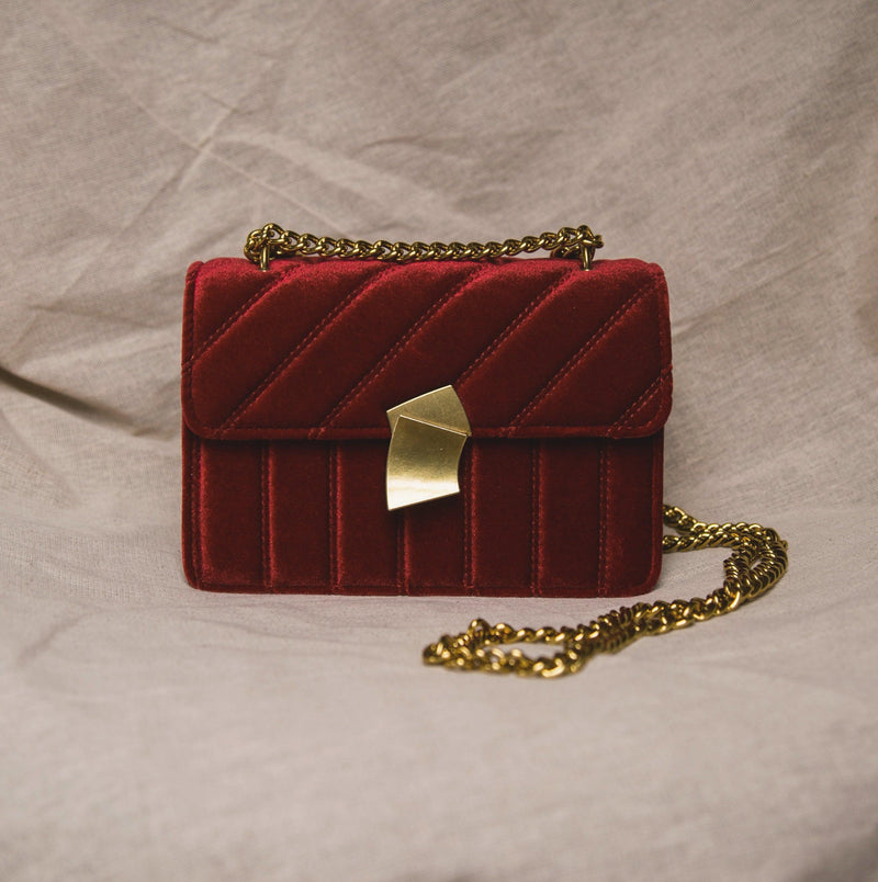 Valentina Velvet Crossbody Bag - Red