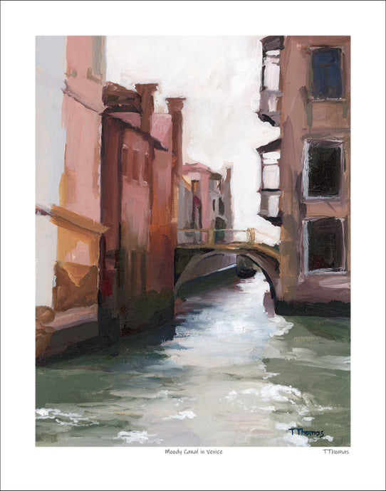 Moody Canal in Venice Art Print with White Border