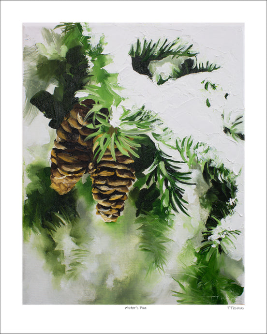 Winter's Pines Art Print with White Border