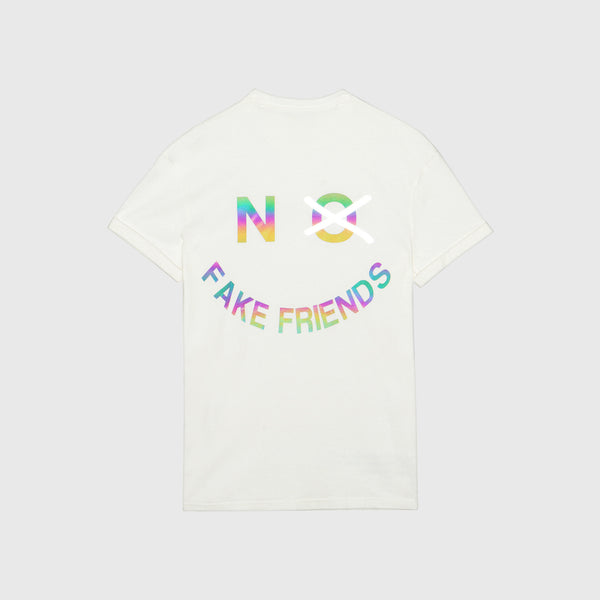 NO FAKE FRIENDS TEE - AURORA REFLECTIVE CREAM