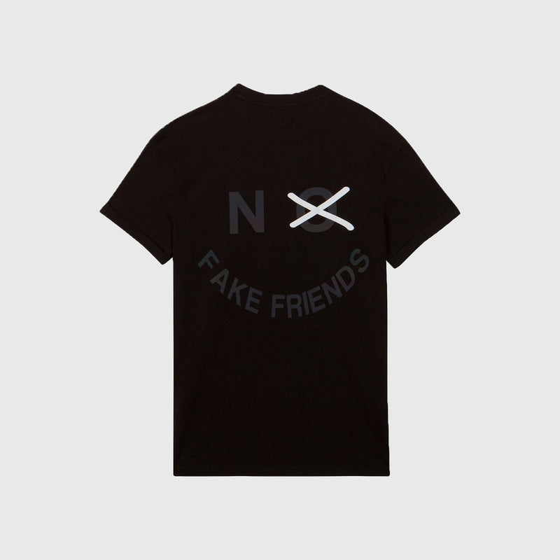 NO FAKE FRIENDS TEE - AURORA REFLECTIVE BLACK