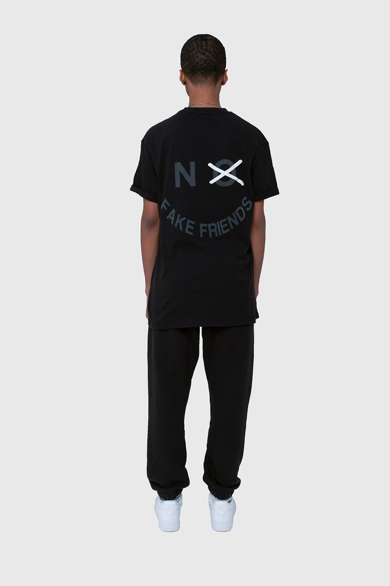 NO FAKE FRIENDS TEE, HALF SHADOW TEE, HOODIE, BLACK TEE, TEE, TSHIRT, BLACK LOGO TSHIRT, BLACK TSHIRT, HALF SHADOW HOMIES, NO FAKE FRIENDS, 3M TEE, 3M TSHIRT, RELFECTIVE TSHIRT, 3M