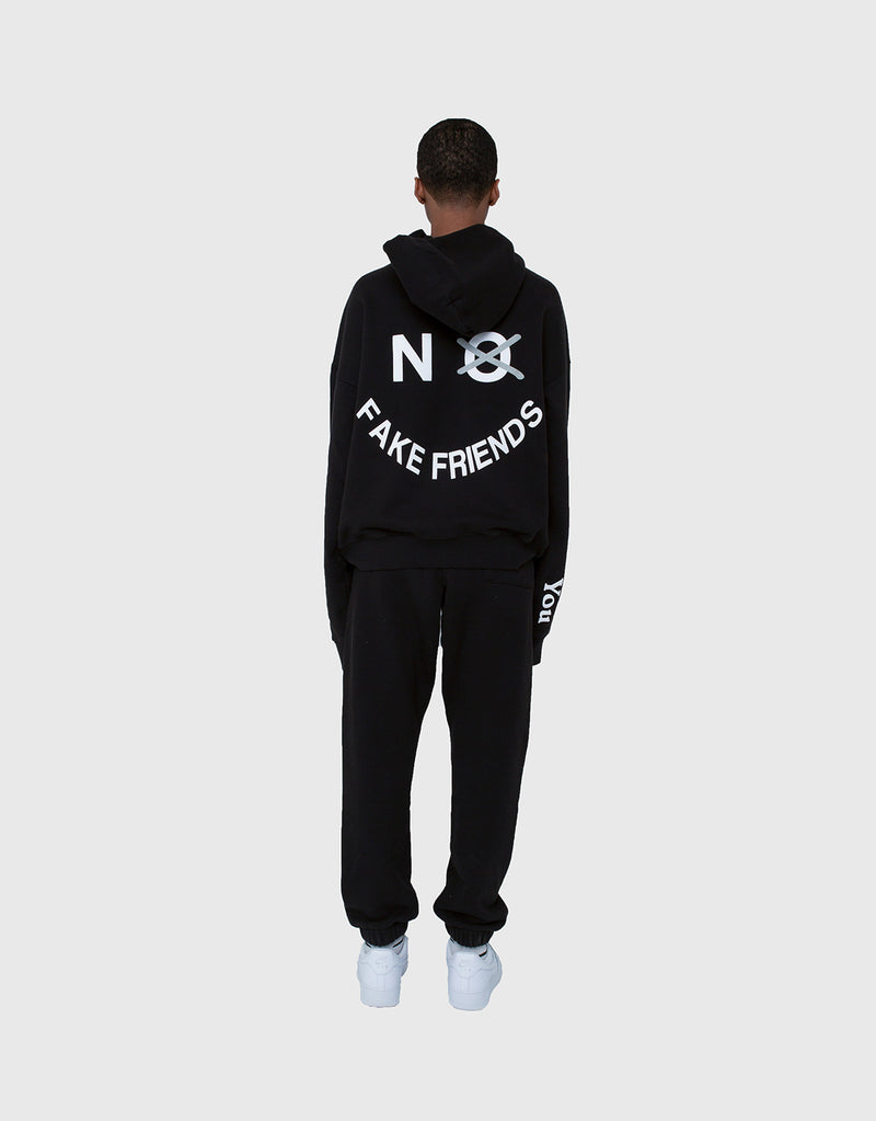 NO FAKE FRIENDS HOODIE, HALF SHADOW HOODIE, HOODIE, BLACK HOODIE, OVERSIZED HOODIE, BLACK LOGO HOODIE, BLACK PULLOVER, IKYSW, I KNOW YOU SO WELL HOODIE, IKYSW, I KNOW YOU SO WELL