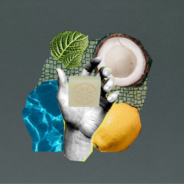 collage of coconut, water, textural strips, mosaic and a hand with soap