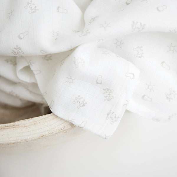 image of organic double muslin wrap, white with dove grey print in bowl.