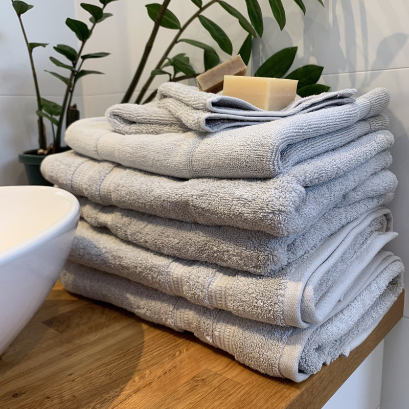 Bathroom Towel Set - 7 Piece Organic Cotton, Stone