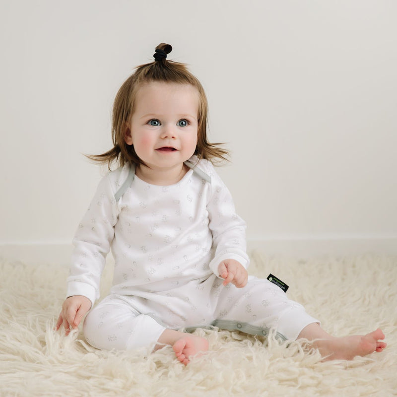 Long Onesie - Organic Cotton White Print