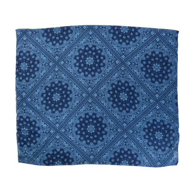 Navy and Aqua Repeater Print Scarf