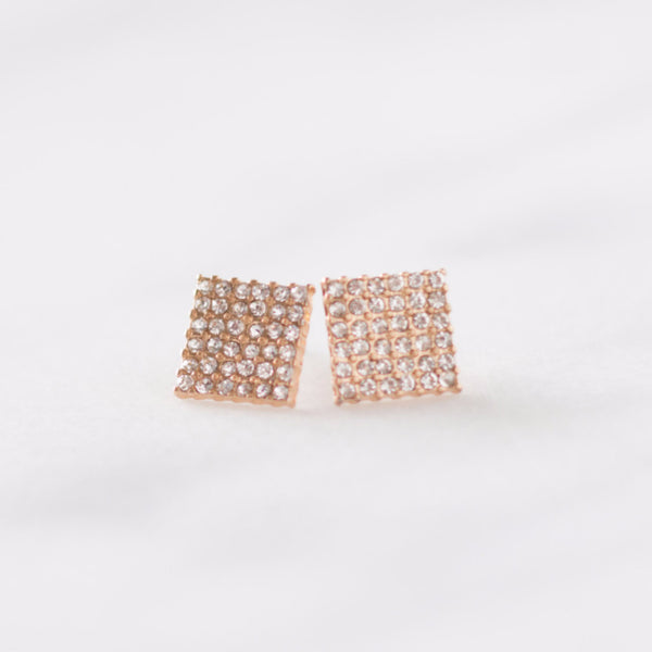 Crystal Pavee Square Earrings
