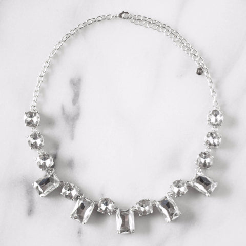 Clear Crystal Emerald Cut Statement Necklace