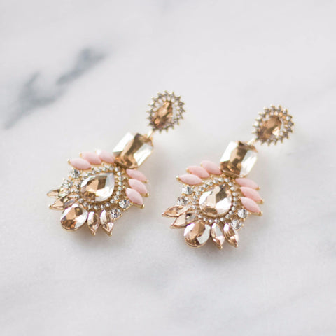 Canary and Champagne Pink Statement Earrings