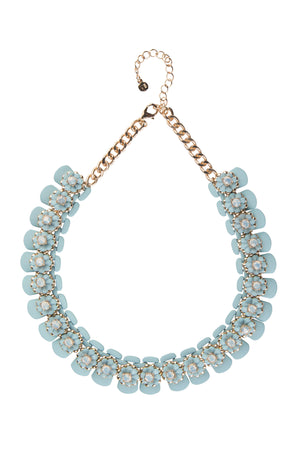Silicone Powder Blue Floral Statement Necklace