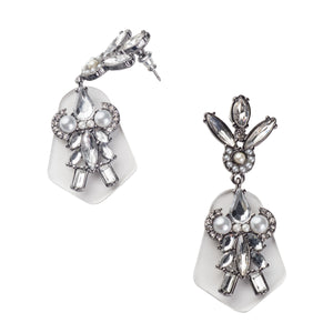 Pearl And Crystal Drop Statement Earrings